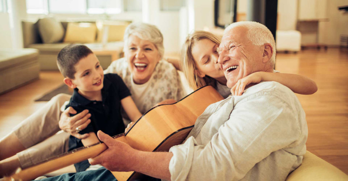 Grandparents listening with children